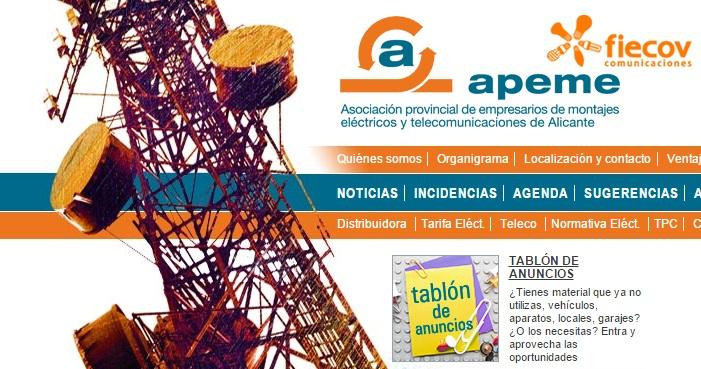 Tablón de anuncios en web apeme.es